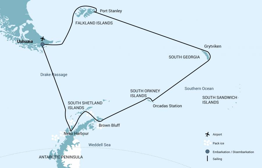 Map for The Falkland Islands, South Georgia & Antarctica
