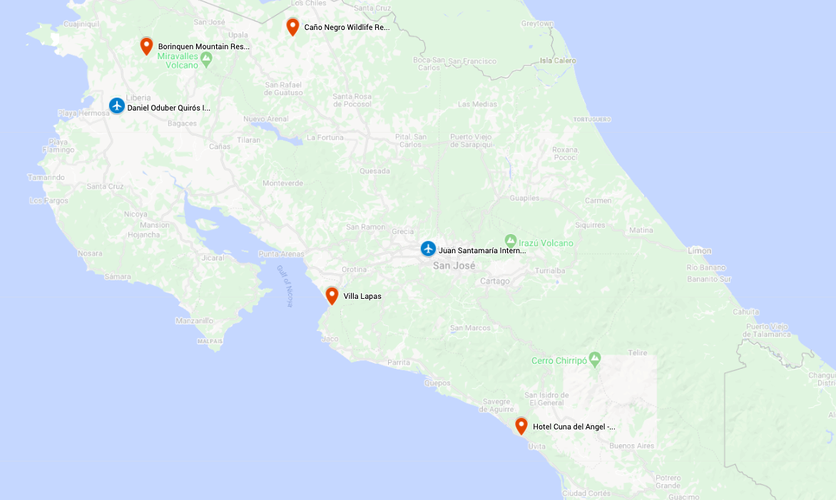 Map for Costa Rica's Wild Pacific Side