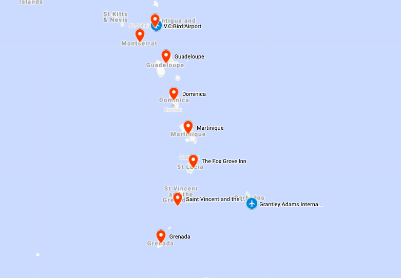 Map for Lesser Antilles Birding & Nature