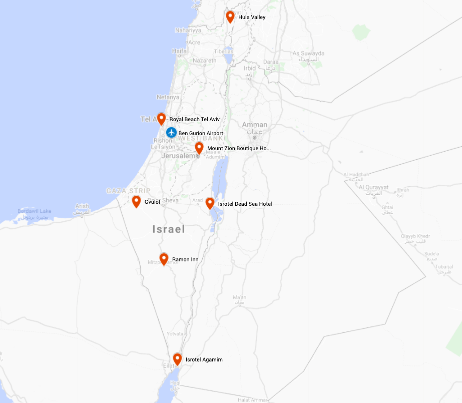 Map for Israel: Birds, Nature & Culture