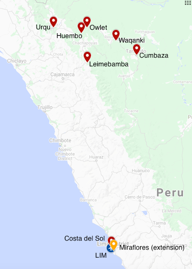Map for Northern Peru Endemics