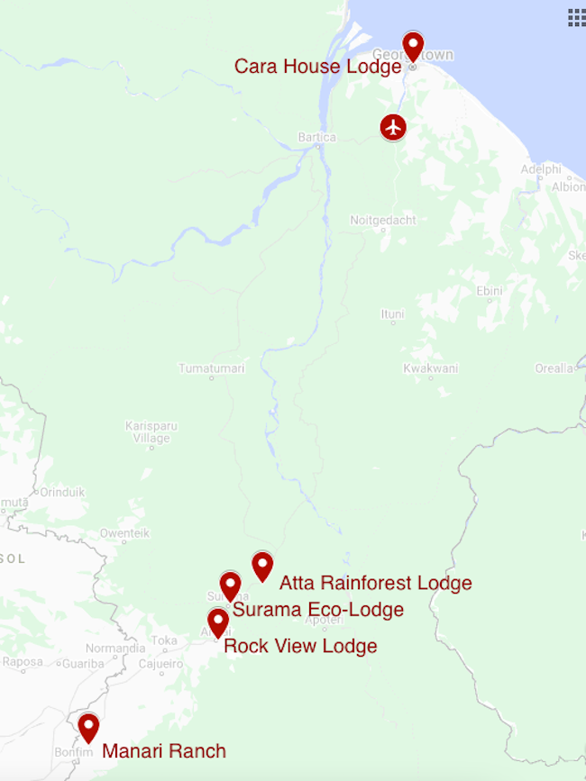 Map for Guyana: Unspoiled Wilderness