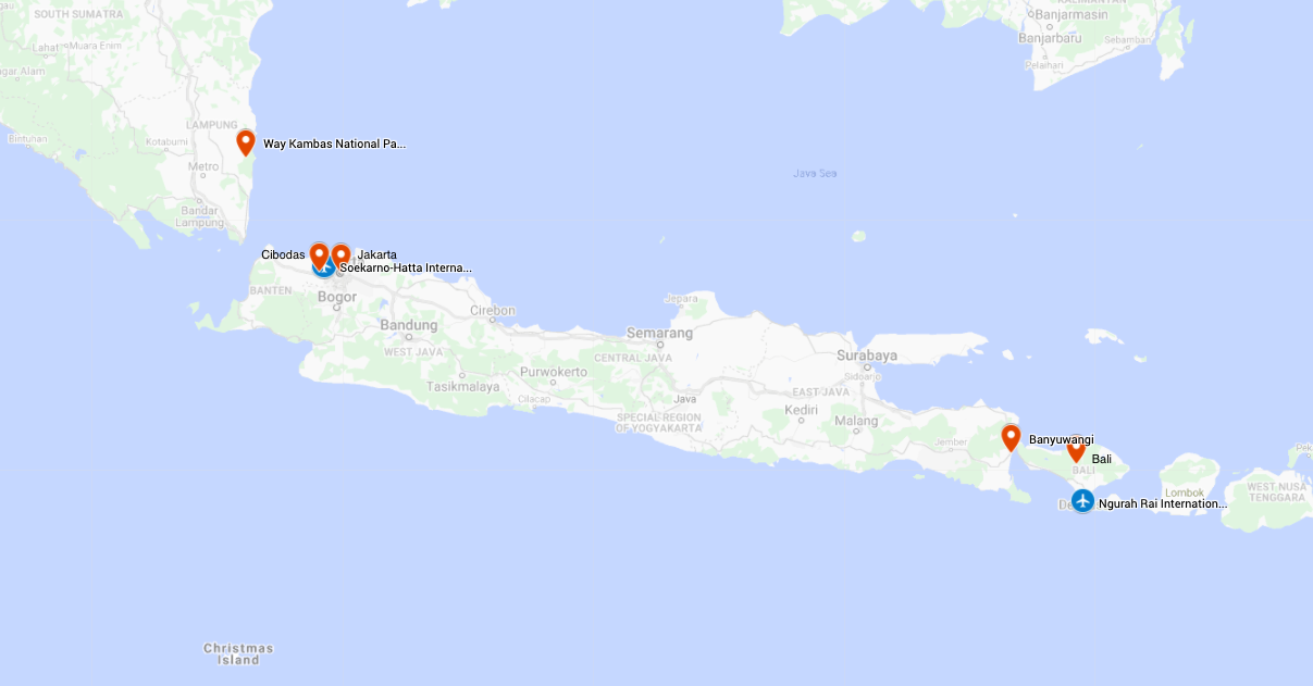 Map for NEW! Indonesia's Best Birding