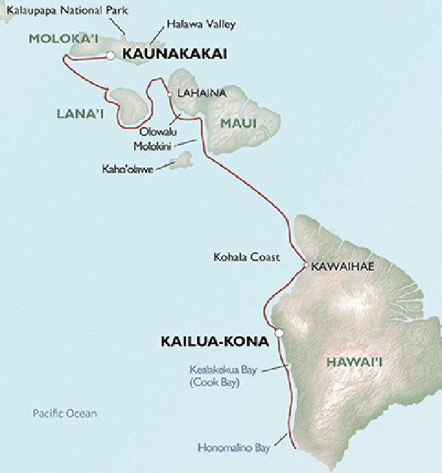 Map for Hawaii: A Birding & Nature Cruise