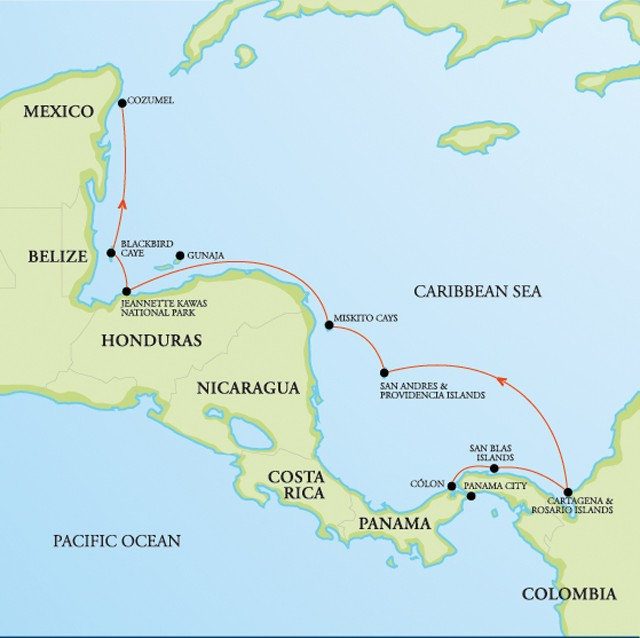 Panama Mexico Map.Panama To Mexico Central American Snorkeling Cruise Tour