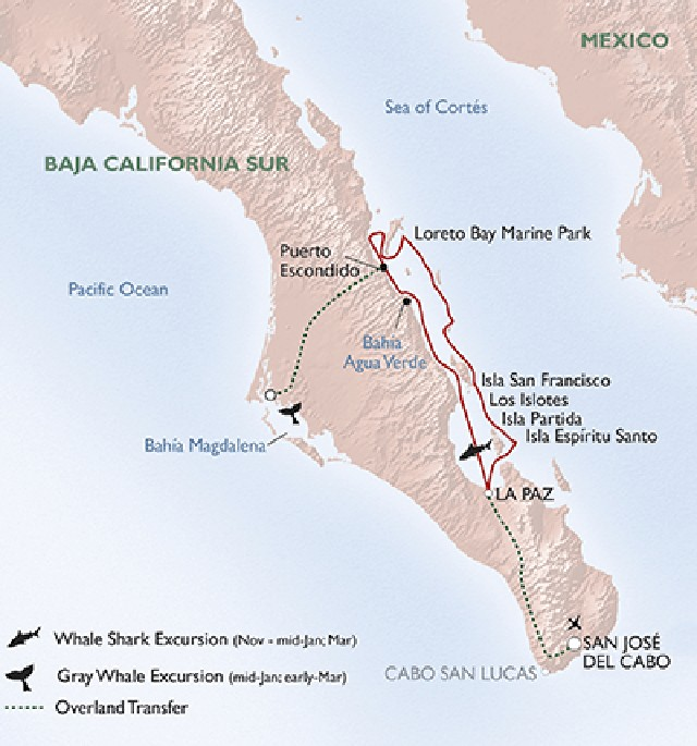 Map for Mexico's Sea of Cortez