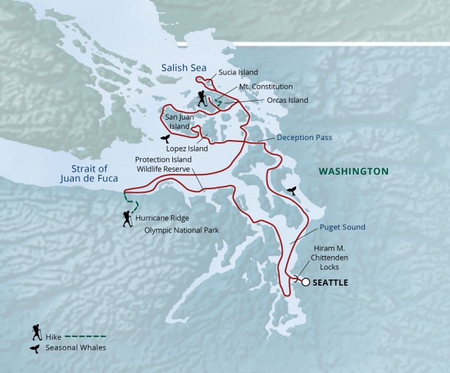 Map for Pacific Northwest & San Juan Islands Cruise