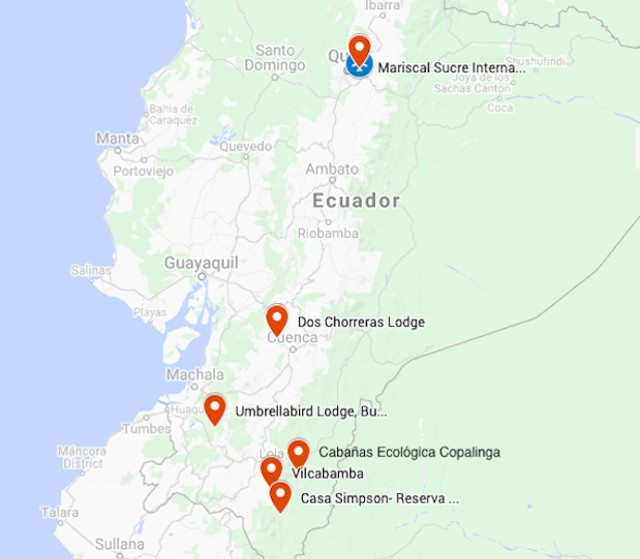 Map for Southern Ecuador: Birding & Nature