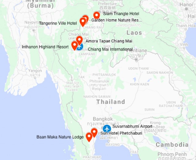 Map for Thailand Birding & Nature